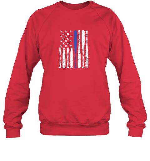 kazs thin blue line leo usa flag police support baseball bat sweatshirt 35 front red