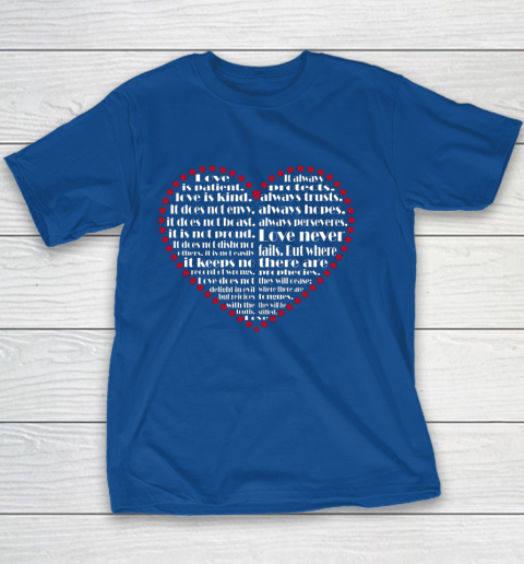 Love is patient love is kind Valentine Hearts Valentines day Youth T-Shirt 6