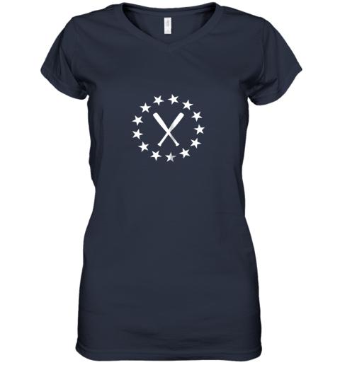 183c baseball with bats shirt baseballin player gear gifts women v neck t shirt 39 front navy