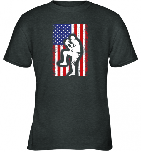 26y5 vintage usa american flag baseball player team gift youth t shirt 26 front dark heather