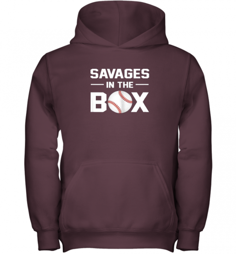pjii savages in the box shirt baseball gift youth hoodie 43 front maroon