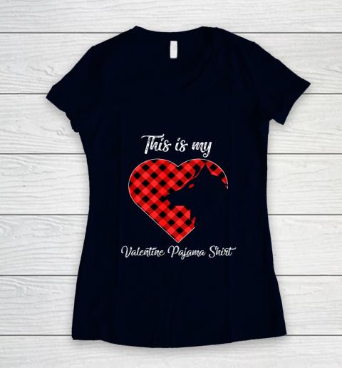 This Is My Valentine Pajama Shirt Wolf Valentines Day Women's V-Neck T-Shirt 2