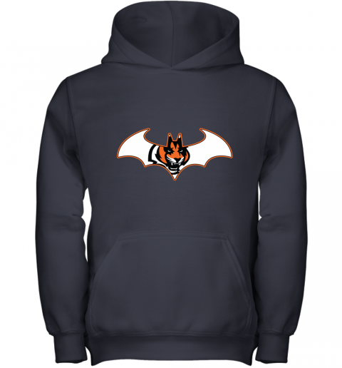 w14b we are the cincinnati bengals batman nfl mashup youth hoodie 43 front navy