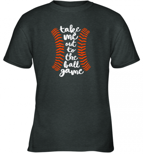 uvoz take me out ball game shirt baseball song orange black blue youth t shirt 26 front dark heather