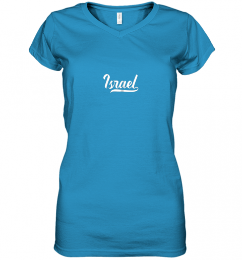 ku0v israel baseball national team fan cool jewish sport women v neck t shirt 39 front sapphire