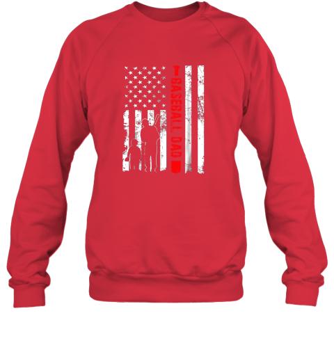 5qmq mens proud baseball dad american flag sports sweatshirt 35 front red