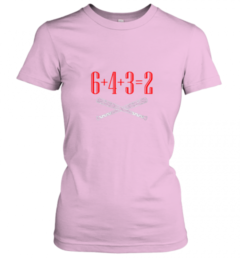 qthp funny baseball math 6 plus 4 plus 3 equals 2 double play ladies t shirt 20 front light pink