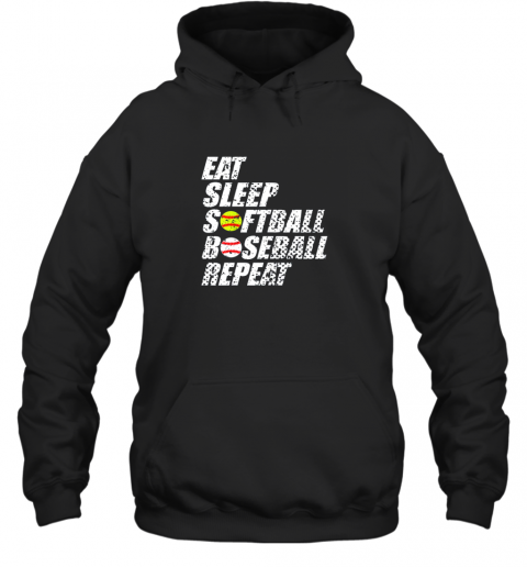Softball Baseball Repeat Shirt Cool Cute Gift Ball Mom Dad Hoodie