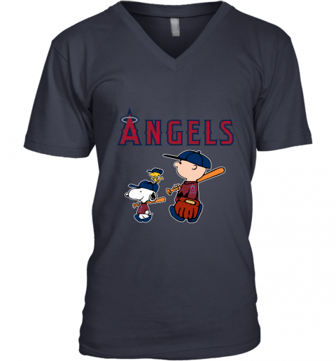 3067 los angeles angels lets play baseball together snoopy mlb shirt v neck unisex 8 front navy