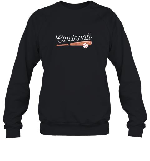 Cincinnati Baseball Tshirt Classic Ball and Bat Design Sweatshirt