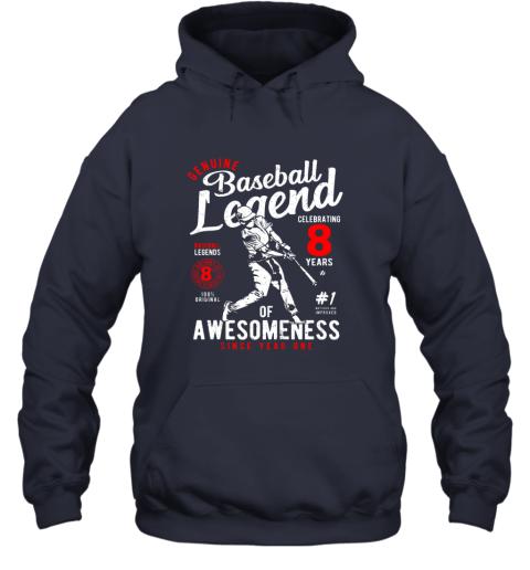 xu1r kids 8th birthday gift baseball legend 8 years hoodie 23 front navy