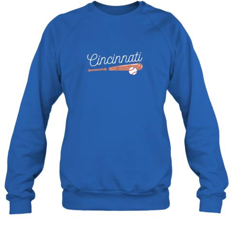 u5mv cincinnati baseball tshirt classic ball and bat design sweatshirt 35 front royal