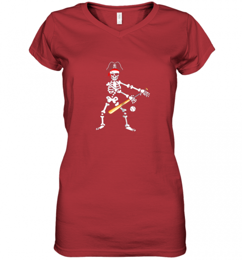 gwfs skeleton pirate floss dance with baseball shirt halloween women v neck t shirt 39 front red