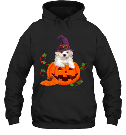 Dog Lover Gifts Funny Maltese Pumpkin Halloween Hoodie