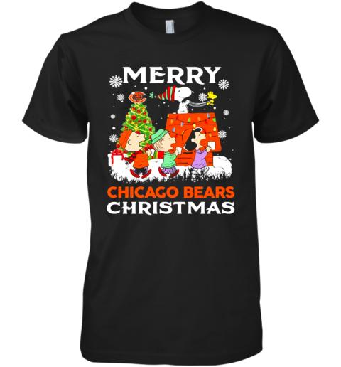 Merry Chicago Bears Christmas Snoopy Peanuts Premium Men's T-Shirt