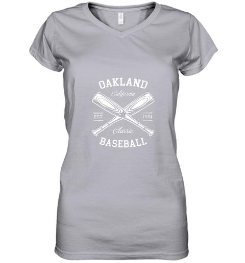 w5i9 oakland baseball classic vintage california retro fans gift women v neck t shirt 39 front sport grey