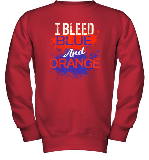 ixtd i bleed blue and orange fan shirt football soccer baseball youth sweatshirt 47 front red