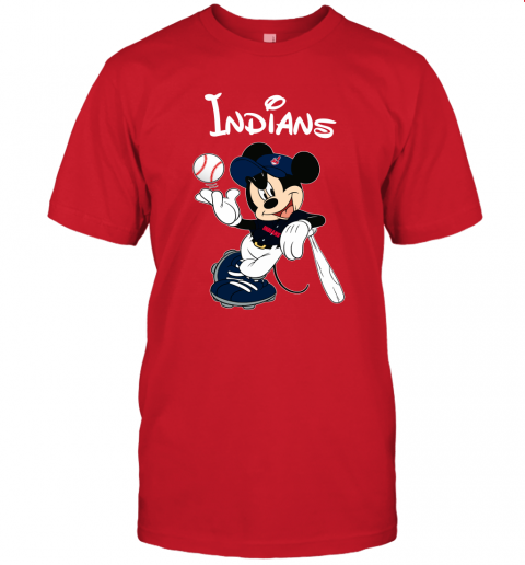 j09x baseball mickey team cleveland indians jersey t shirt 60 front red
