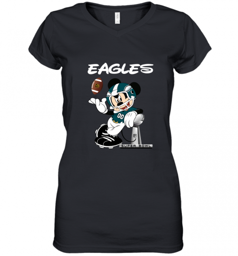 Mickey Eagles Taking The Super Bowl Trophy Football Women's V-Neck T-Shirt