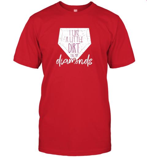 ijnu i like a little dirt on my diamonds baseball jersey t shirt 60 front red
