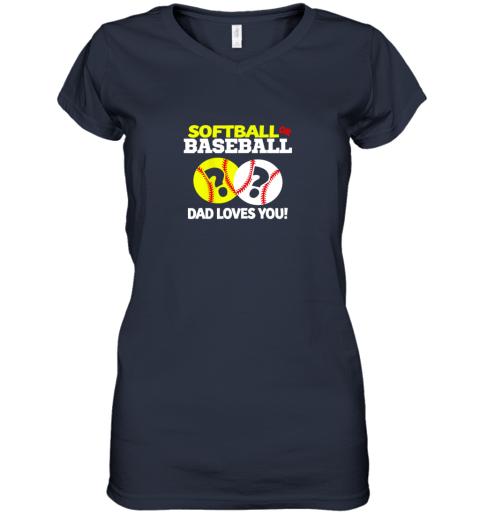 glrv softball or baseball dad loves you gender reveal women v neck t shirt 39 front navy