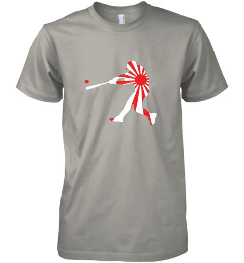 hp4t japan baseball shirt jpn batter classic nippon flag jersey premium guys tee 5 front light grey