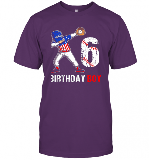 sstz kids 6 years old 6th birthday baseball dabbing shirt gift party jersey t shirt 60 front team purple