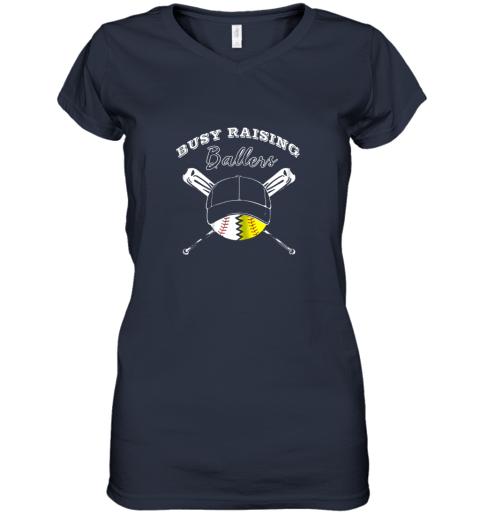 32fr busy raising ballers softball baseball mom funny gift women v neck t shirt 39 front navy