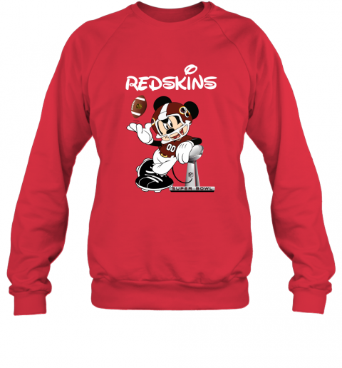 c2wj mickey redskins taking the super bowl trophy football sweatshirt 35 front red