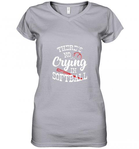 xx0v theres no crying in softball game sports baseball lover women v neck t shirt 39 front sport grey