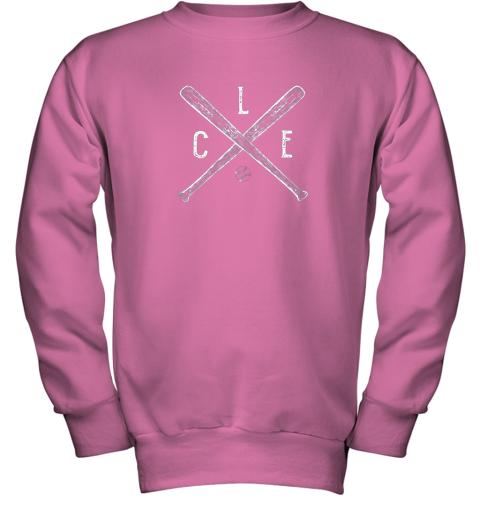 utge vintage cleveland baseball shirt cleveland ohio youth sweatshirt 47 front safety pink