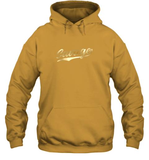 zkkx savage shirt retro 1970s baseball script font hoodie 23 front gold