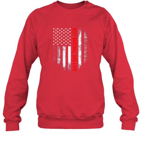 jjff vintage usa best baseball dad ever american flag daddy gift sweatshirt 35 front red