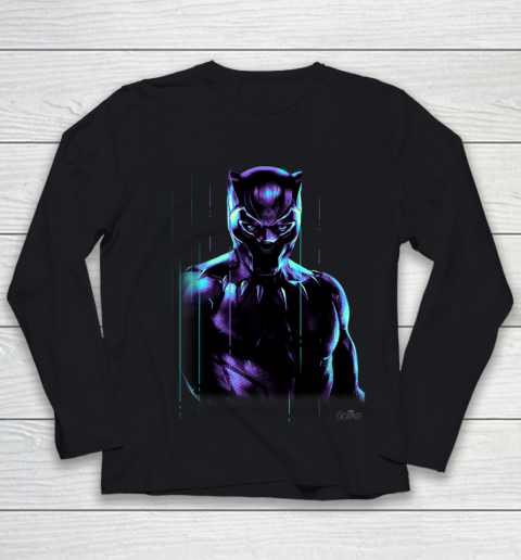 Marvel Infinity War Black Panther Neon Glow Graphic Youth Long Sleeve