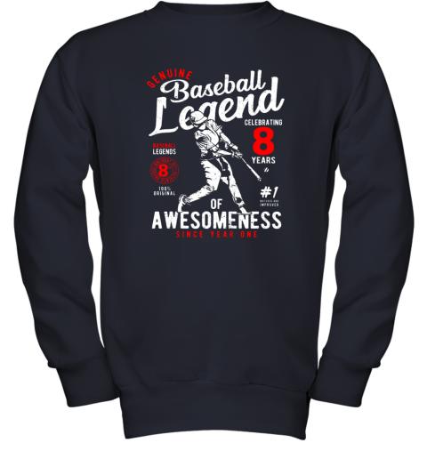 v7hw kids 8th birthday gift baseball legend 8 years youth sweatshirt 47 front navy