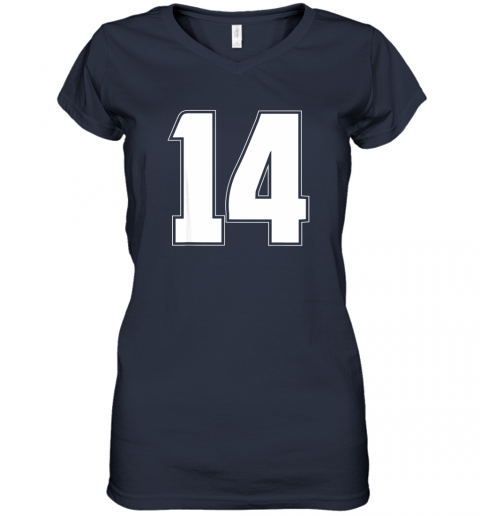 56jl halloween group costume 14 sport jersey number 14 14th bday women v neck t shirt 39 front navy