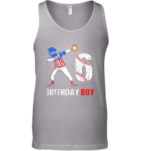 ql6o kids 6 years old 6th birthday baseball dabbing shirt gift party unisex tank 17 front sport grey