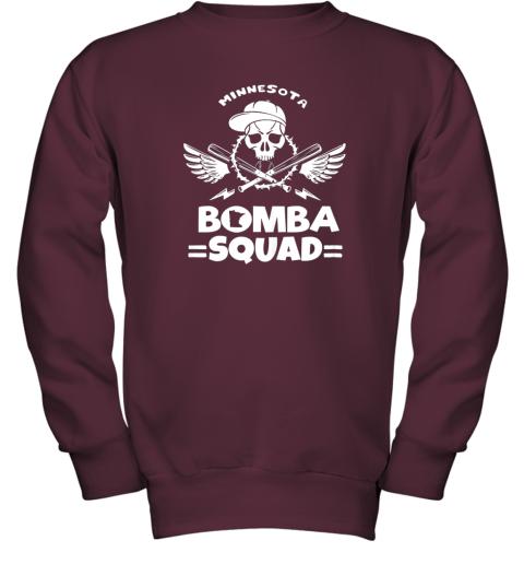 6098 bomba squad twins shirt minnesota baseball men bomba squad youth sweatshirt 47 front maroon