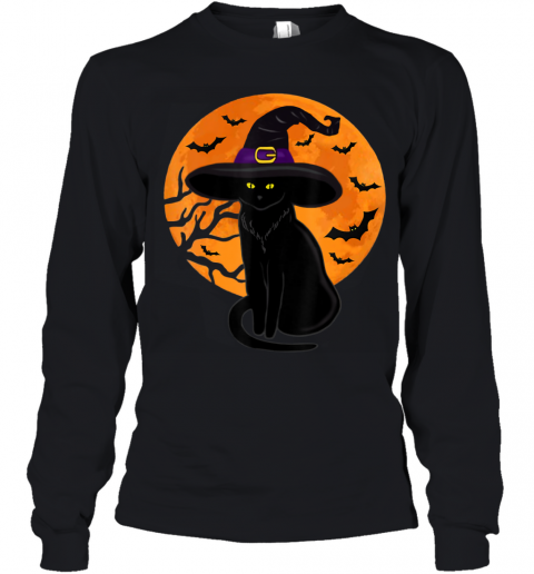 Vintage Scary Halloween Black Cat Costume Witch Hat Moon Youth Long Sleeve