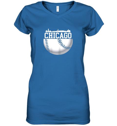 vsrp vintage downtown chicago shirt baseball retro illinois state women v neck t shirt 39 front royal