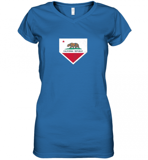 oyo0 vintage baseball home plate with california state flag women v neck t shirt 39 front royal
