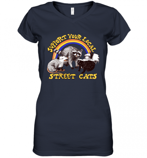 mpwk support your local street cats trash panda skunk wild animal shirts women v neck t shirt 39 front navy