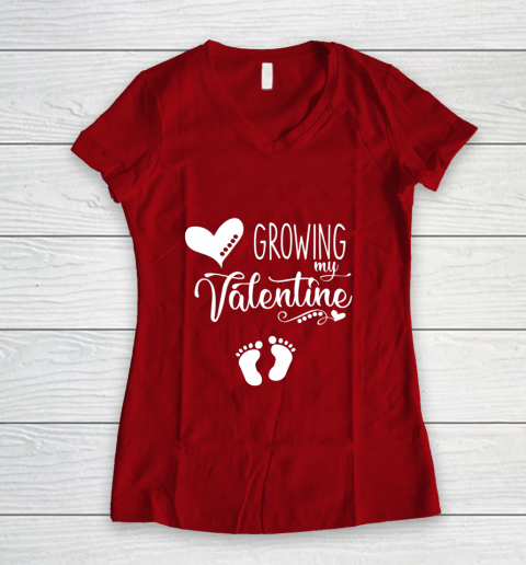 Growing my Valentine Tshirt for Wife Women's V-Neck T-Shirt 8