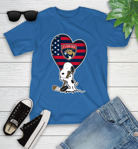 Florida Panthers NHL Hockey The Peanuts Movie Adorable Snoopy Youth T-Shirt 9