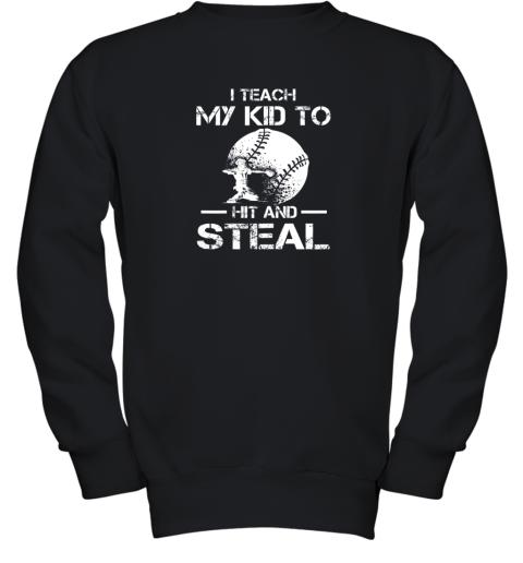 Dad Coach I Teach My Kids To Hit Steal Baseball Gift Youth Sweatshirt
