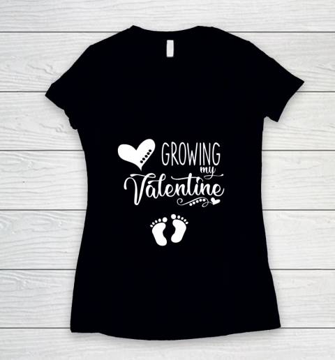 Growing my Valentine Tshirt for Wife Women's V-Neck T-Shirt