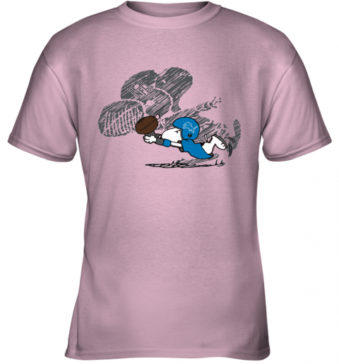 Detroit Lions Snoopy Plays The Football Game Youth T-Shirt