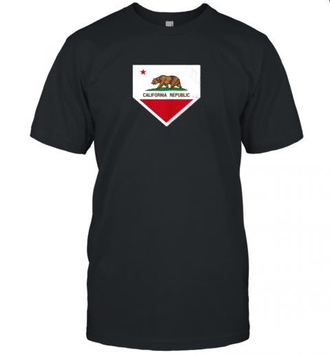 Vintage Baseball Home Plate With California State Flag Unisex Jersey Tee