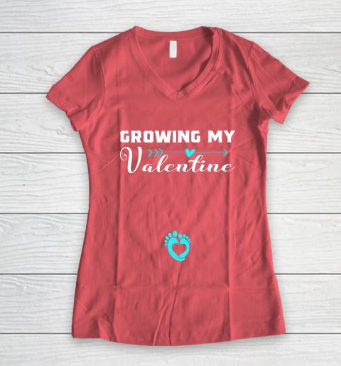 Cute Growing my Valentine Gift for Women pregnancy Women's V-Neck T-Shirt 4