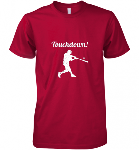 unzl touchdown funny baseball premium guys tee 5 front red